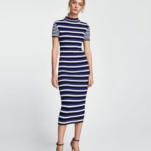 NWT Zara Striped Knit ribbed Mide Dress